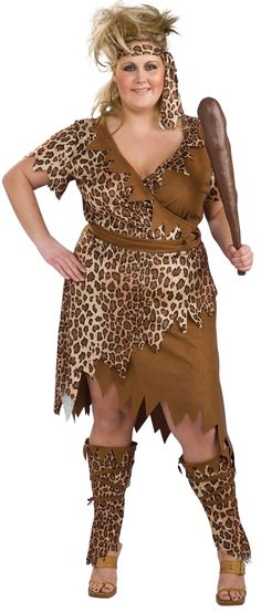 Cavewoman Plus - Calgary, Alberta. This barbarian Neanderthal Halloween outfit is great for other costume parties. Wield a club and go find yourself a cro-magnon mate for a couples costume. This is a prehistoric cavewoman costume. Just like Fred Flintstone's wife Wilma, any self-respecting primitive cavewoman needs something nice to wear out. This is a three-piece outfit with a dress, headband and leg warmers.