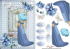 Shades of Blue on Craftsuprint designed by June Young - A Regency lady in a blue dress with a contrasting parasol, looking out of her window. Set in a double lace surround with toning roses and a lace butterfly. There are six greetings plates, two are blank for your own use. - Now available for download!