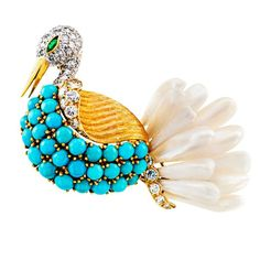Swan Brooch Handcrafted with Petal Pearls Turquoise and Diamonds | From a unique collection of vintage brooches at https://www.1stdibs.com/jewelry/brooches/brooches/