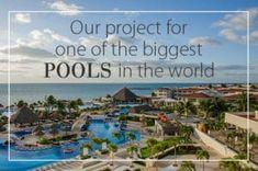 """Itališkos mozaikos fabrikas Sicis atstovauja naujame projekte, kuris taps didžiausiu baseinu pasaulyje padengtu išskirtine Sicis mozaika. Šiuo lauko baseinu iš mozaikos galėsite pasimėgauti """"Moon Palace Golf & Spa Resort"""" Kankune, Meksikoje. Visa baseino teritorija, iš viso 113882kv. m., visiškai padengta išskirtiniu Sicis mozaika iš """"Natural"""" kolekcijos. Sicis Mosaic, Big Pools, World, Beach, Water, Outdoor, Projects, Gripe Water, Outdoors"""