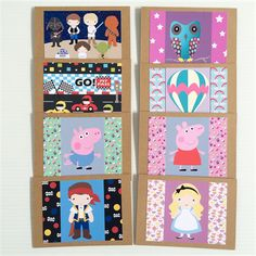 Children's Character Birthday Blank Set of 8 Greeting Cards for all Occasions