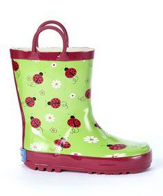 Green & Red Lovely Ladybug Rain Boot