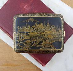 Vintage Japanese Damascene Cigarette Case Gold Metal Inlay