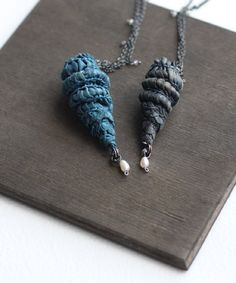 Smocked jewellery...Tiny pieces of fabric dyed from plants and leaves are transformed into such incredible pieces..By Eve from Tinctory.....