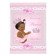 "Tiara Girl Princess Baby Shower Pink Pearls Ethnic 5"" X 7"" Invitation Card"