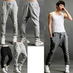 Male big pocket  Men Casual Sporty Hip Hop Dance Harem Baggy Sport Sweat Pants Trousers Slacks $14.16