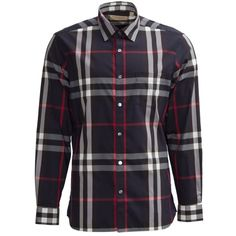 Burberry Check Shirt ($230) ❤ liked on Polyvore featuring men's fashion, men's clothing, men's shirts, men's casual shirts, blue, mens casual long sleeve shirts, mens checkered shirts, mens button front shirts, mens checked shirts and mens blue shirt