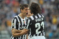 Fernando Lorente (L) of Juventus celebrates his second goal during the Serie A match between Juventus and AS Livorno Calcio at Juventus Aren...