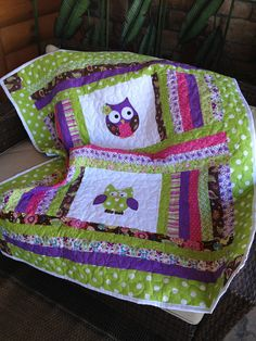 Items similar to Lime green, pink, brown, and purple baby girl owl quilt on Etsy