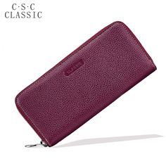 Long Wallet Womens Wine Red Real Genuine Leather Zipper Wallets Women Clutche Female Ladies Purse Coins Phone Card Holder bag