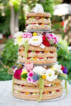Unfrosted Wedding cake + fruit in layers