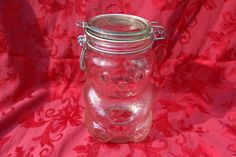 Vintage Glass Skippy Peanut Butter Bear Jar by SnugHarborBay Glass Jars With Lids, Jar Lids, Skippy Peanut Butter, Rummage Sale, Dried Beans, Craft Supplies, Mason Jars, Things To Come, Bear