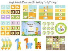 ANIMALES de la selva del bebé 1er cumpleaños por traditionsbydonna