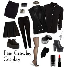 Fem Crowley Cosplay by khloekhaos on Polyvore featuring Marc Jacobs, Forever New, River Island, H&M, Fogal, Underground, Jeffrey Campbell, Pieces, Valentino and Giorgio Armani
