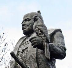 Statue of Tokugawa Ieyasu which stands at Sunpu Castle Tokugawa Ieyasu, Architecture Details, Samurai, Lion Sculpture, Castle, Statue, My Style, Creativity, Faces