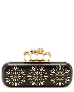Alexander McQueen 'Glory' Leather Studded Knuckle Clutch... I LOVE the studded knuckles; very cool!