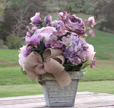 Large Rustic Lilac Floral Centerpiece Rustic by TheVineDesigns, $49.95