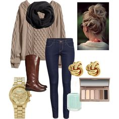 Cozy Fall outfit, just add pearl studs instead.