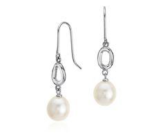Freshwater Cultured Pearl Infinity Drop Earrings in Sterling Silver #BlueNile #MothersDay #jewelry