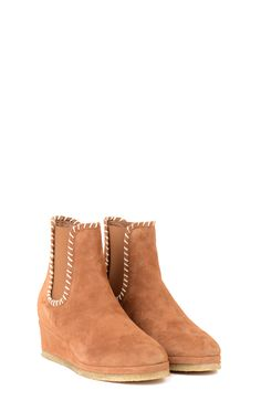 CERVO COLOUR SUEDE ANKLE BOOTS WITH WEDGE INSIDE