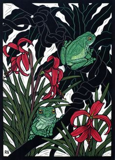 Green Tree Frog 49 x 35 cm  Edition of 50 Hand coloured linocut on handmade Japanese paper $850