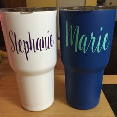 Custom white and blue 30 oz SIC tumblers