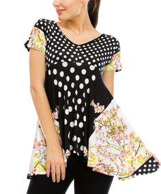 Look at this #zulilyfind! Flower & Polka Dot Empire-Waist Tunic by Saint Paradise #zulilyfinds