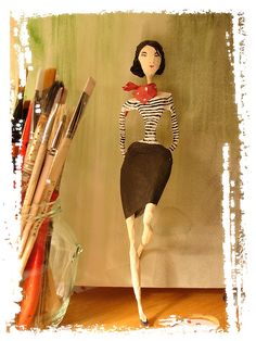french girl - paper mache