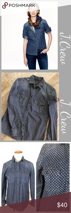 """J.Crew Keeper Star Print Denim Blouse J. Crew Keeper chambray shirt in star dot. Size 6. Preowned. Measurements  Bust 19"""" Shoulder to bottom hem 24.5 Sleeves 23.5  Bundle in my closet and save. I ship same day or next day almost always! No Trades. Suggested user and top-rated seller! I appreciate you checking out my closet. J. Crew Tops Button Down Shirts"""