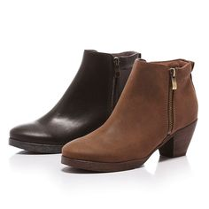 $2580-Fair Lady 俐落風拉鍊低跟短靴 黑 - 5/6 咖6