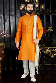 Orange Color Art Dupion And Art Dupion Designer Men s Kurta Pajama With  Embroidery and Hand Work. 52bbc3673
