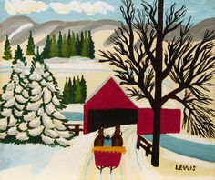 MAUD LEWIS' THEMES: WINTER SLEIGH RIDES  'Sleigh ride Over a Bridge' by Maud Lewis at Mayberry Fine Art
