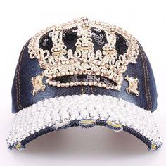 Women's Crown Baseball Cap Stylish faux pearls and crown shape embellished baseball cap. Accessories Hats