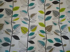 Teal Fabric Green Grey Black White Funky UK Cotton by WickedWalls