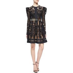 Elie Saab Puff-Sleeve Sheer Lace Fit-And-Flare Cocktail Dress ($6,660) ❤ liked on Polyvore featuring dresses, black, elie saab dresses, open back dresses, puffed sleeve dress, puff sleeve dress and round neck dress