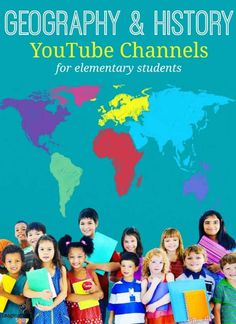 Channels with tons of educational videos for the elementary school classroom focusing on geography and history. Geography For Kids, Geography Lessons, World Geography, Teaching Geography Elementary, Middle School Geography, Geography Interactive Notebook, History Lessons For Kids, Geography Activities, History Activities