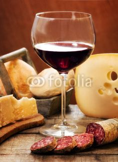 red wine with dairy products and salami