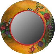 Large Circle Mirror – Large round mirror with floral motifs and rich hues Mirror Painting, Painting Frames, Diy Painting, Painting On Wood, Large Circle Mirror, Diy Wall Decor For Bedroom, Handmade Mirrors, Art And Craft Videos, Round Mirrors