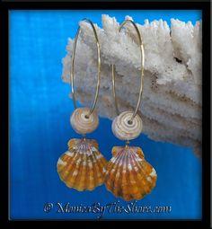 Hot Hawaiian Sunrise Shells & Natural North Shore Puka Shell Gold Hoop Earrings!  Super Sexy!!! <3