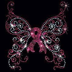 7Х7 - РАК МОЛОЧНОЙ ЖЕЛЕЗЫ.Осведомленность бабочка - розовая лента (горный хрусталь) - осознание, груди, бабочка, рак, розовый, розовая лента, стразы, ленты, камни, бабочки, перенос материала, осведомленности рака