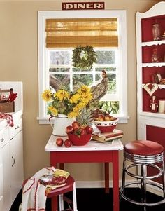 Red and white kitchen!   I love the corner hutch! |Pinned from PinTo for iPad|