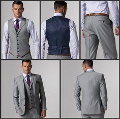 Hot Sale Groom Tuxedo Light Grey Groomsmen Notch Lapel Wedding/Dinner Suits Best Man Bridegroom (Jacket+Pants+Tie+Vest) B267