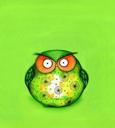 Spring Green Art   Funny OWL  Owl Decor Lime Cute por AnnyaKaiArt, $18.00