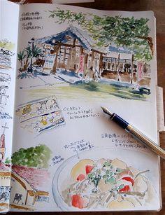 明治期の港町の古を感じる「三角西港」世界遺産ウォークの絵日記 - スケッチしとこ