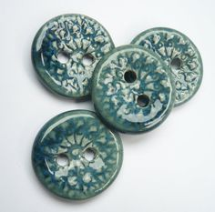 Teal Patterned Ceramic Buttons by buttonalia on Etsy, $10.00