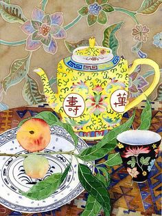 Tea and peaches by Gabby Malpas // i've always told my dad i wanted one of these teapots from Chinatown!