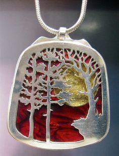 Sterling Silver Landscape Pendant par JewelrybyRC sur Etsy