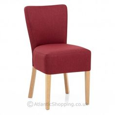 Dine in comfort with our Gordon Oak Dining Chair Red Fabric.