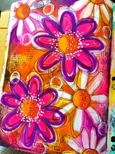 Paint and doodled flowers art journal page | par Tr4cy1973