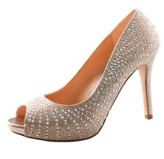 De Blossom Collection Brenda-22 Closed Toe Pumps Glitter Bling Rhinestone Stiletto Heel Platform Champagne 7.5. Unique, head-turning pumps. Gorgeous Glitter and Rhinestone bedazzled. Cushioned inner sole. High quality materials. Textured sole for excellent traction. Heel Height: 4.75 inches; platform rise: 0.75 inches.
